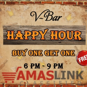 Get ready for the Happy Hour Promotion only at V-Bar